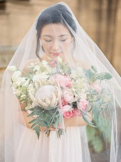 DETAIL • beautiful flowing veil with pink and green floral accents • instagram @oui_events
