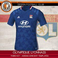 d025ad3f29612 Design Football Club  Olympique Lyonnais - Adidas 2016 2017. Equipamento De  Futebol