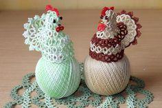 Плетем курицу. Фриволите