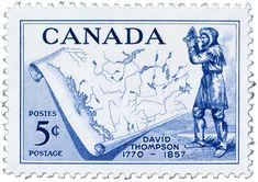 Canadian Stamp - David Thompson-1957. Posted at Rocky Mountain House during his time finding a way across the Rocky Mountains.