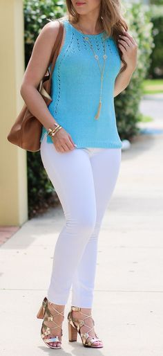 White jeans + blue top + gold heels + cat eye sunglasses = casual summer perfection! This casual summer look features some of my favorite clothing items, including my Banana Republic gold lace-up heels, Lilly Pulitzer Mac Sweater Tank, Tory Burch Perry Tote, DL1961 Power Leggings & Quay Australia My Girl sunglasses. The /lillypulitzer/ Mac sweater tank is the perfect summer top + the Socialite Pink Caitlin Endless Pendant can be styled 4 different ways! | by blogger Ashley Brooke Nicholas