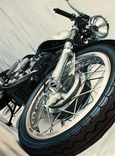 Vintage Ducati Cafe Racer Art 24 x 18 print of by MotoPainter