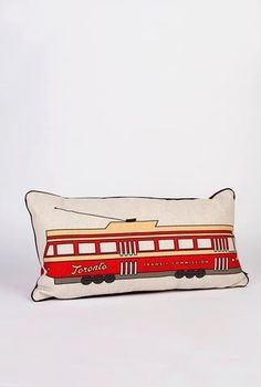 Toronto Streetcar Pillow – Main and Local Toronto Houses, Cushions, Pillows, Gifts For Family, White Christmas, Pillow Inserts, Firefighter, Cotton Canvas, Cool Stuff