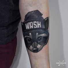Raccoon tattoo by Lukas Zglenicki https://www.instagram.com/tai9a/