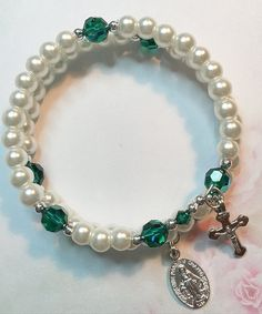 Swarovski Emerald Crystal and Glass Pearl Rosary Bracelet, Memory WIre Rosary Bracelet, One Size fits All, May Birthdays, St. Patrick's Day by LivAriaDesigns on Etsy