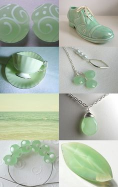 Pale Green Chalcedony Lariat featured in this pretty minty collection! #jewelryonetsy #designsbycher #treasurybot --Pinned with TreasuryPin.com