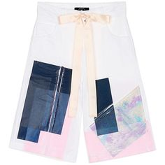 Nicopanda Paint patchwork deconstructed shorts ($430) ❤ liked on Polyvore featuring shorts, tropical print shorts, punk shorts, long shorts, glitter shorts and knee length shorts