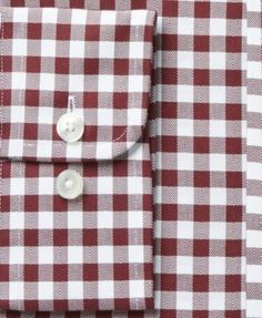 Tasso Elba Men's Regular Fit Non-Iron Burgundy White Bold Herringbone Gingham Dress Shirt, Created for Macy's - Burgundy 17 36/37