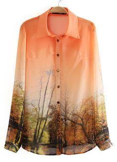 Orange Lapel Long Sleeve Landscape Print Blouse US$29.83