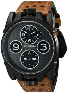 CT Scuderia Men's CS40300 Analog Display Swiss Quartz Brown Watch