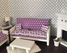 """Living room set for 18"""" dolls fits the American Girl dolls"""