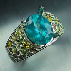 2.65cts Natural Paraiba blue Apatite oval cut & sapphires Sterling silver ring £149.00