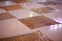 Sparkly gold checkered dance floor | photo by Joielala | design by Jesi Haack| 100 Layer Cake
