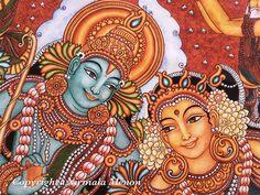 Mysore Painting, Kerala Mural Painting, India Painting, Indian Art Paintings, Saree Painting, Fabric Painting, Painting Art, Traditional Paintings, Contemporary Paintings