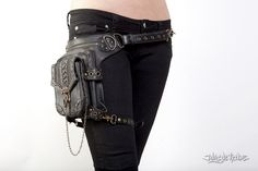 Blaster 3.0 Black Leather Hip Bag by Jungle Tribe