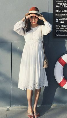 Fashiontroy Hipster & indie long sleeves crewItem info: 076FDL34137 Hipster & indie long sleeves crew neck white lace-trimmed cotton linen blend midi dress