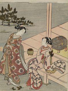 Two Women Collecting Pine Shoots for New Year.  Woodblock print, 1766, Japan, by artist Suzuki Harunobu