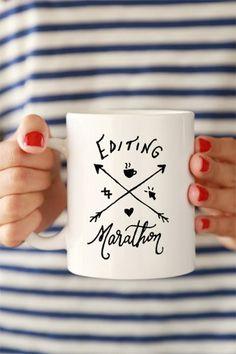 Editing Marathon Ceramic Mug by ClickandBlossom on Etsy Coffee Cups, Tea Cups, Diy Mugs, Branding, Gifts For Photographers, Cute Mugs, Lettering, Mug Cup, Things To Buy