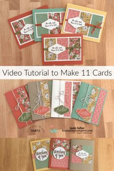 Handmade Cards in this Tutorial with Limited Supplies Want to know how to make 11 handmade cards wi Card Making Tutorials, Card Making Techniques, Making Ideas, Fancy Fold Cards, Greeting Cards Handmade, Easy Handmade Cards, Greeting Card Sentiments, Making Greeting Cards, Making Cards