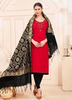 Cotton Slub Casual Wear Hand Work Churidar Suits Collection With Banarasi Dupatta Catalog Salwar Suits Pakistani, Churidar Suits, Salwar Kameez, Patiala, Salwar Suits Simple, Designer Suits Online, Salwar Suits Party Wear, Classy Suits, Fashion Pants