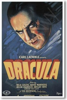 Dracula, directed by Tod Browning. A timeless work where Bela Lugosi played the part of Count Dracula and created the image that is - until today - the reference for that character. Classic Monster Movies, Classic Horror Movies, Classic Monsters, Old Movies, Vintage Movies, Great Movies, Vintage Posters, Excellent Movies, Awesome Movies