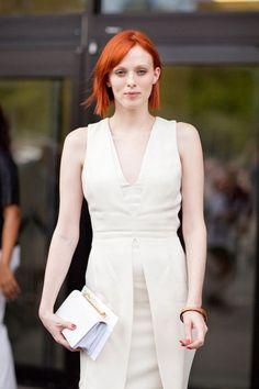 All white with that gorgeous hair...Karen Elson