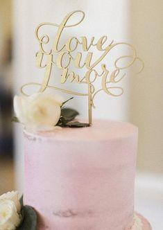Rose Gold Love Wedding Cake Topper Cursive Rose Gold Topper Leaf