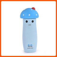 Water Bottle Bulk, Kids Thermal Water Bottle Cute Mushroom Drink Cup Travel Portable Vaccum Mug, Material Stainless steel (Blue) - Fun stuff and gift ideas (*Amazon Partner-Link)