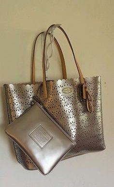New Coach Metro Eyelet Leather Tote Wristlet Bag Purse F35716 Grey Pearl | eBay