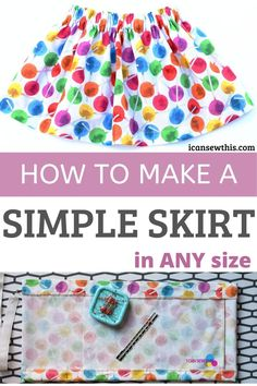 Learn to quickly make a simple skirt with an elastic waistband with this free sewing tutorial. Follow these instructions and you'll have in the end a fabulous little skirt that looks 100% professional!This skirt is great for your first sewing project. All you need to do is cut a rectangle, sew a few straight stitches, insert an elastic through the casing and that's it. You can totally do this!