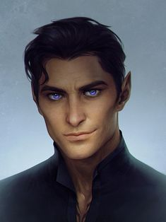 I could keep tweaking this until the cows come home - but I'm calling my Rhys portrait done! Rhys, High Lord of The Night Court from S. Maas 'A Court of Thorns and Roses' & 'A Court of Mist . A Court Of Wings And Ruin, A Court Of Mist And Fury, Book Characters, Fantasy Characters, Character Portraits, Character Art, Charlie Bowater, Male Elf, Feyre And Rhysand