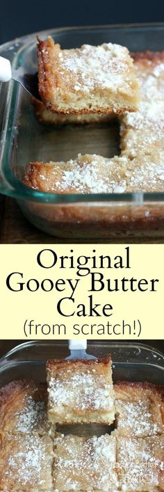 Saint Louis Original Gooey Butter Cake recipe made from scratch! One of my FAVORITE cakes, and this recipe is the real deal! Saint Louis Original Gooey Butter Cake recipe made from scratch! One of my FAVORITE cakes, and this recipe is the real deal! Food Cakes, Cupcake Cakes, Cupcakes, Bundt Cakes, Layer Cakes, Ooey Gooey Butter Cake, Butter Cakes, Gooy Butter Cake, Recipe For Gooey Cake