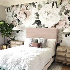 Large Peony on Black Background Removable Wallpaper-Peel and Stick Wallpaper-Wall Mural- Self Adhesive Wallpaper Bedroom Murals, Bedroom Wall, Girls Bedroom, Bedroom Decor, My Room, Girl Room, Wallpaper Decor, Adhesive Wallpaper, Rustic Home Design