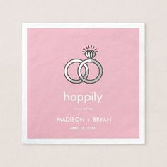 Wedding Engagement Bridal Happily Ever After Rings Paper Napkin - bridal gifts bride wedding marriage