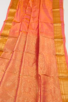 Kanchipuram silk saree electric persimmon Kanchipuram saree [kselecpersim] - $198.00 : Sarishop, Online Saree Shopping