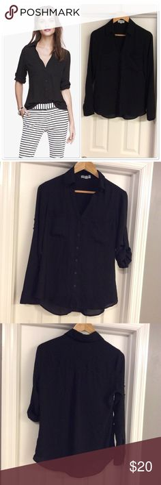 Express Black Slim Fit Portofino Closet essential! Good condition! Slim Fit. Express Tops