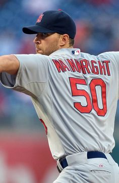 Starting pitcher Adam Wainwright delivers a pitch in the first inning during the game against the Philadelphia Phillies.  4-18-13