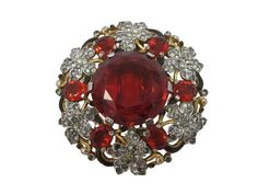 TRIFARI 1941 Alfred Philippe Brooch / Rare 1,175.00 Fur Clip, Red Glass Stone, Jet Black Enamel, Gold Plated / Pavé Leaves