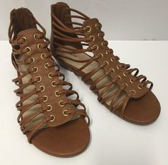 Just Fab Gladiator Sandals 10 41 Ingrid Ankle Brown Gold JF Strappy Shoes #JFJustFab #Gladiator #Casual