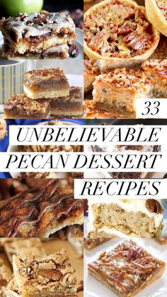 33 Unbelievable Pecan Dessert Recipes Pecan desserts are the epitome of fall comfort food. Get ready to mingle with family and friends around these fantastic pecan desserts! Pecan Desserts, Pecan Recipes, Easy Desserts, Dessert Recipes, Cookie Recipes, Candy Recipes, Dessert Ideas, Fall Recipes, Pecan Cheesecake
