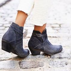 New Free People Grey Leather Ankle Boots