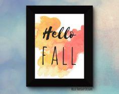 Hello Fall // Typography Print // Autumn Print // Seasonal Quotes // Thanksgiving Printable // 8x10