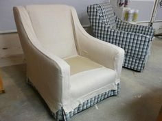 HOW TO MAKE ARM CHAIR SLIPCOVERS FOR LESS THAN $30 {This easy and budget-friendly upholstery project uses canvas drop cloths to give an old set of chairs a new cottage-chic look.}