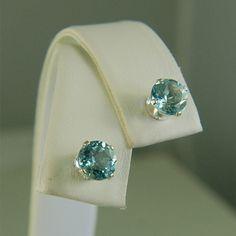 Sky Blue Topaz Studs Sterling Silver Earrings 6mm by Gusgusgems