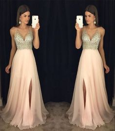 2017 Newest prom dress,V-neck prom dresses, Leg slit prom dress,Crystal beading prom dresses,High quality prom dress,Cheap prom dress,BDS00015