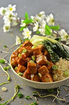This Asian style Sticky Chili Ginger Tofu is so fast and easy to make. It's sweet, sticky & spicy with amazing depth of flavour & texture. A perfect mid-week meal! Easy Vegan Dinner, Vegan Dinner Recipes, Tofu Recipes, Good Healthy Recipes, Vegan Dinners, Asian Recipes, Whole Food Recipes, Vegetarian Recipes, Cooking Recipes