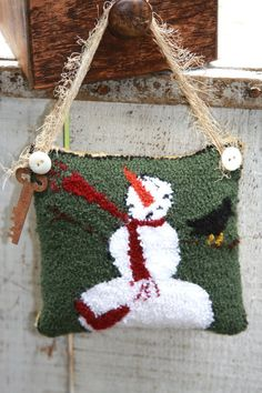 Primitive Needle Punch Snowman Pinkeep by stitchintimepatterns, $8.50