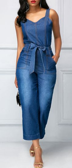 Belted Open Back Blue Pocket Jumpsuit