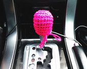 Handmade Crochet Automobile Shift Knob Cover; Keeps Automatic Or Manual Shift Knobs Warm In Cold Weather