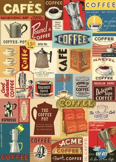 Cavallini Co Vintage Coffee Collage Decorative Paper Sheet   eBay